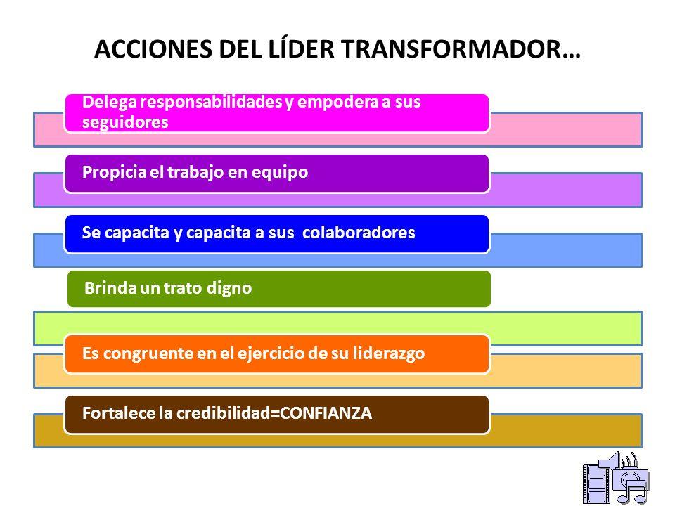 ACCIONES DEL LÍDER TRANSFORMADOR Posee para sí mismo, para su grupo y para su organización una filosofía desarrollada. Abre canales de comunicación: C