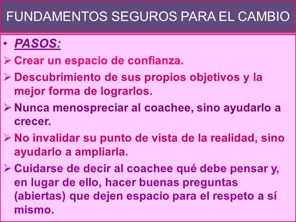 LA RELACIÓN DEL COACH Y EL COACHEE La relación entre ambos se da en un espacio en que el coach plantea preguntas y/o cuestionamientos y el coachee ofr