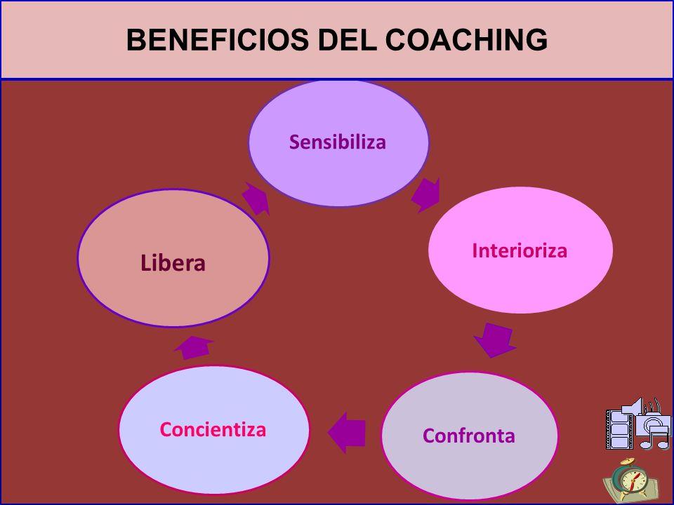 BENEFICIOS DEL COACHING Favorece el desarrollo de competencias Promueve la clarificación de alternativas Ayuda al autodescubrimiento de capacidades, f