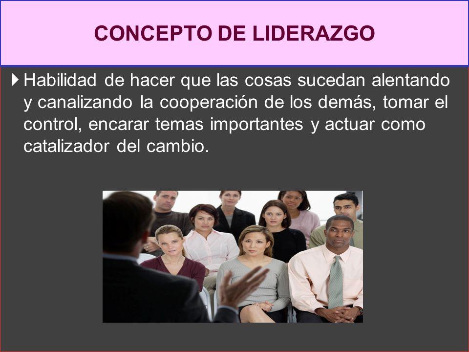 LIDERAZGO Es la visión general que define y mantiene el carácter y cultura propios de una organización.( Organizaciona l) Es el proceso interpersonal