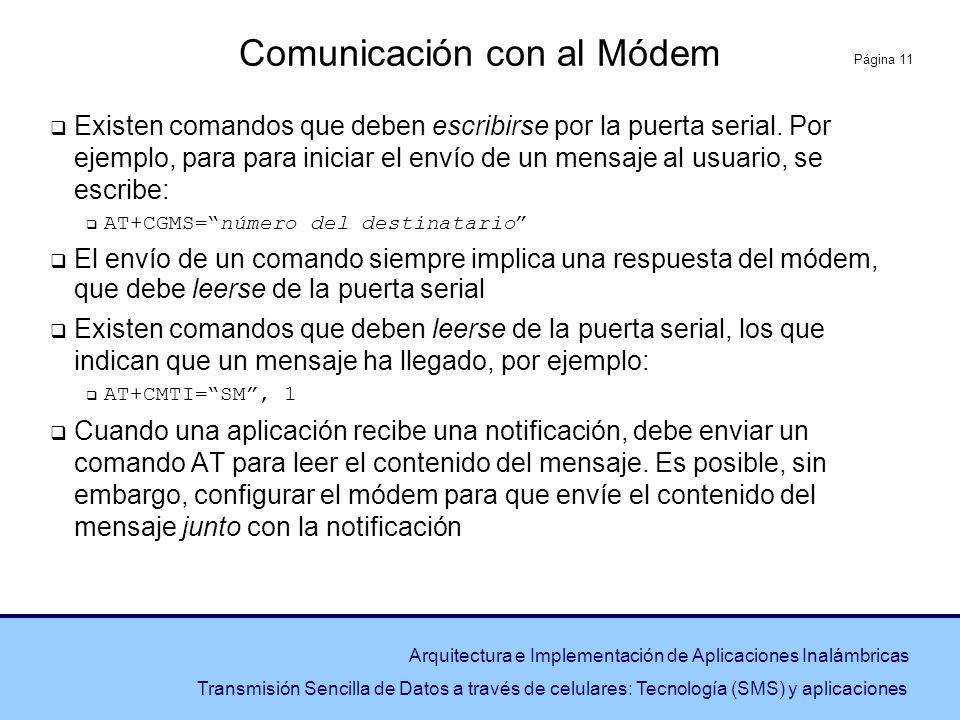 Página 11 Arquitectura e Implementación de Aplicaciones Inalámbricas Transmisión Sencilla de Datos a través de celulares: Tecnología (SMS) y aplicacio
