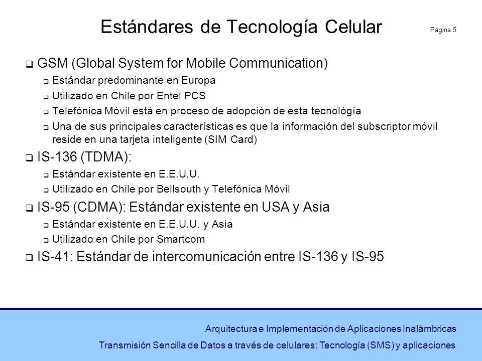 Página 5 Arquitectura e Implementación de Aplicaciones Inalámbricas Transmisión Sencilla de Datos a través de celulares: Tecnología (SMS) y aplicacion
