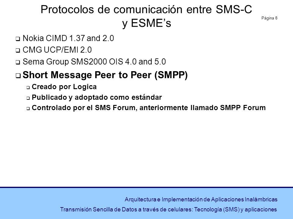 Página 8 Arquitectura e Implementación de Aplicaciones Inalámbricas Transmisión Sencilla de Datos a través de celulares: Tecnología (SMS) y aplicacion