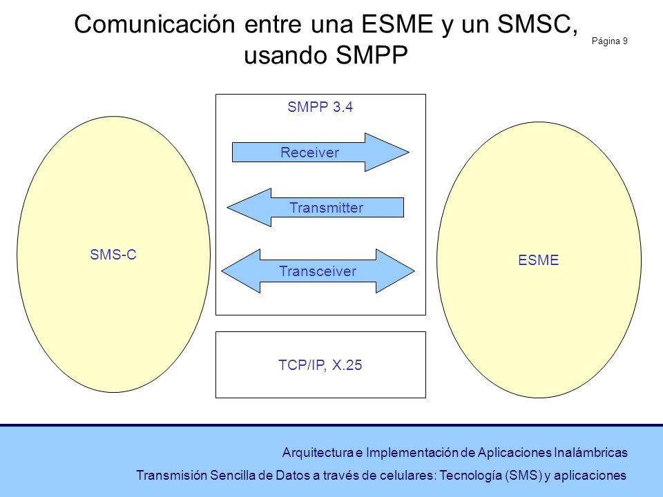 Página 9 Arquitectura e Implementación de Aplicaciones Inalámbricas Transmisión Sencilla de Datos a través de celulares: Tecnología (SMS) y aplicacion