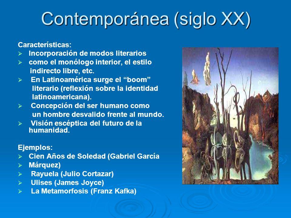 Contemporánea (siglo XX) Características: Incorporación de modos literarios como el monólogo interior, el estilo indirecto libre, etc. En Latinoaméric