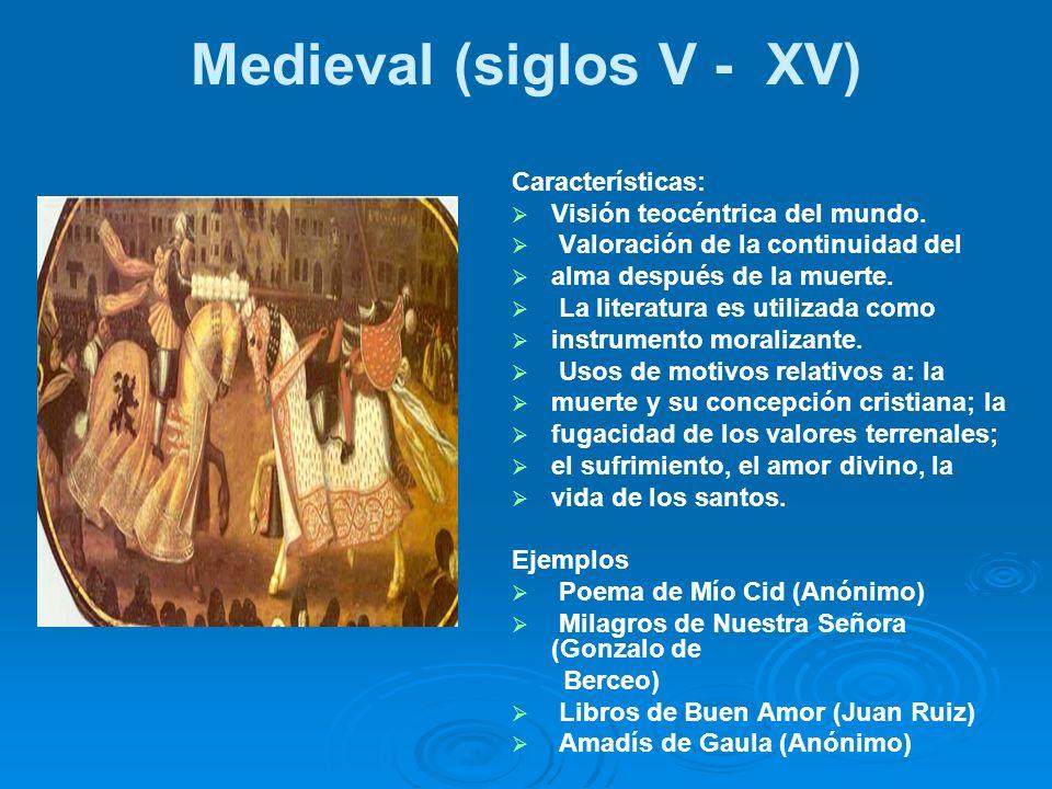 Medieval (siglos V - XV) Características: Visión teocéntrica del mundo. Valoración de la continuidad del alma después de la muerte. La literatura es u