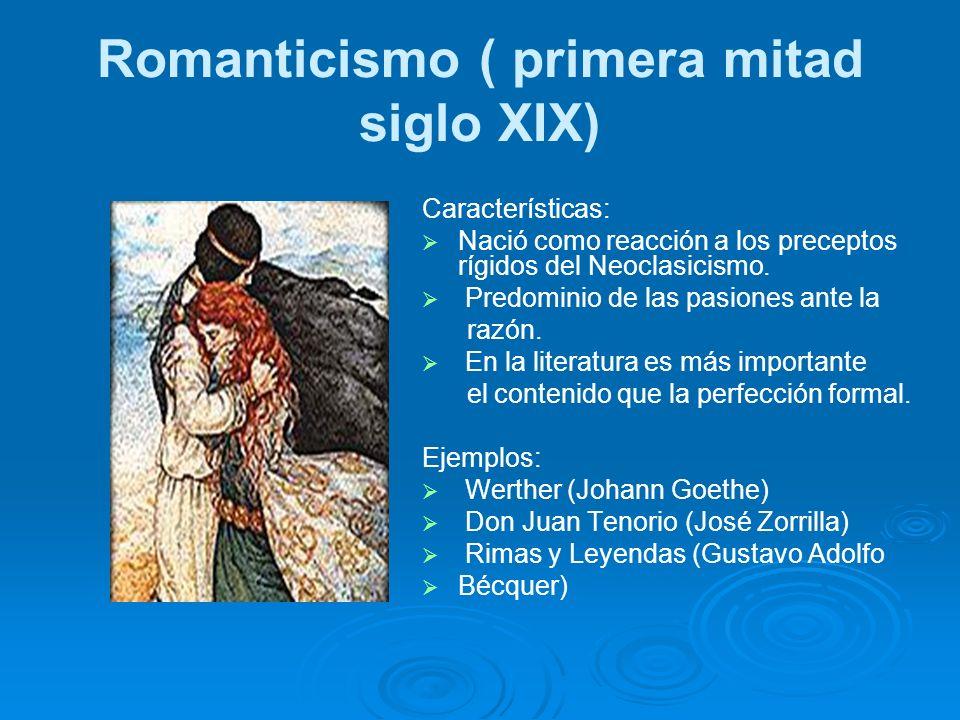 Romanticismo ( primera mitad siglo XIX) Características: Nació como reacción a los preceptos rígidos del Neoclasicismo. Predominio de las pasiones ant