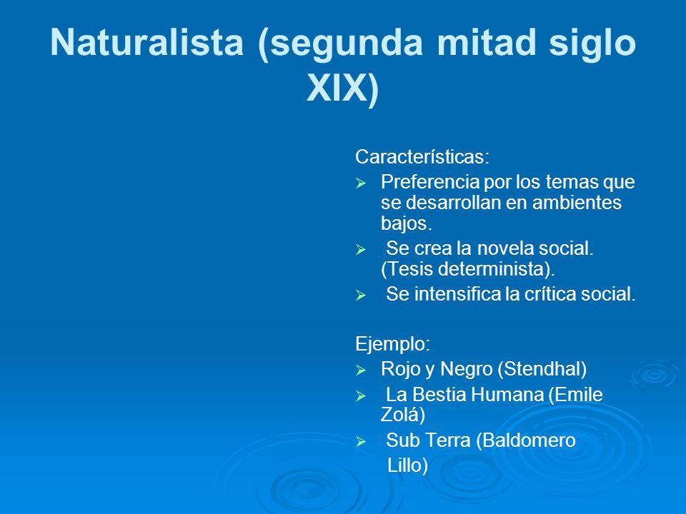 Naturalista (segunda mitad siglo XIX) Características: Preferencia por los temas que se desarrollan en ambientes bajos. Se crea la novela social. (Tes