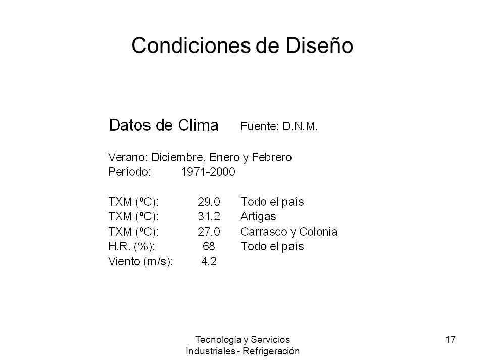 Tecnología y Servicios Industriales - Refrigeración 17 Condiciones de Diseño