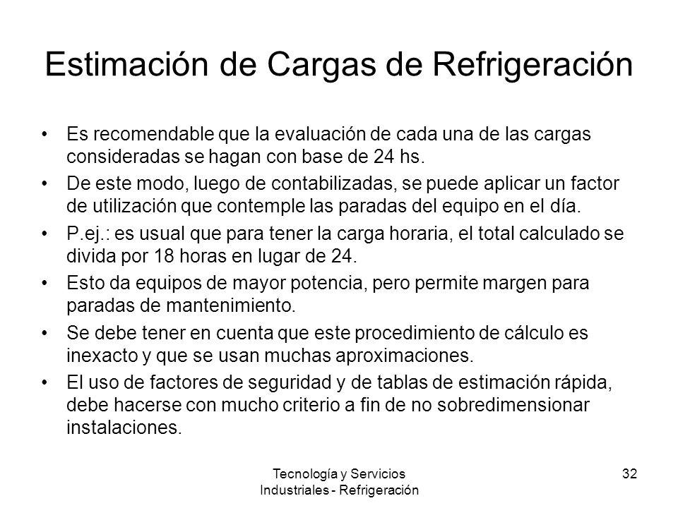 Tecnología y Servicios Industriales - Refrigeración 32 Estimación de Cargas de Refrigeración Es recomendable que la evaluación de cada una de las cargas consideradas se hagan con base de 24 hs.
