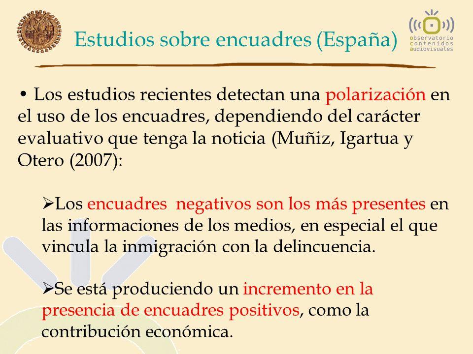 Estudios sobre encuadres (España) Los estudios recientes detectan una polarización en el uso de los encuadres, dependiendo del carácter evaluativo que