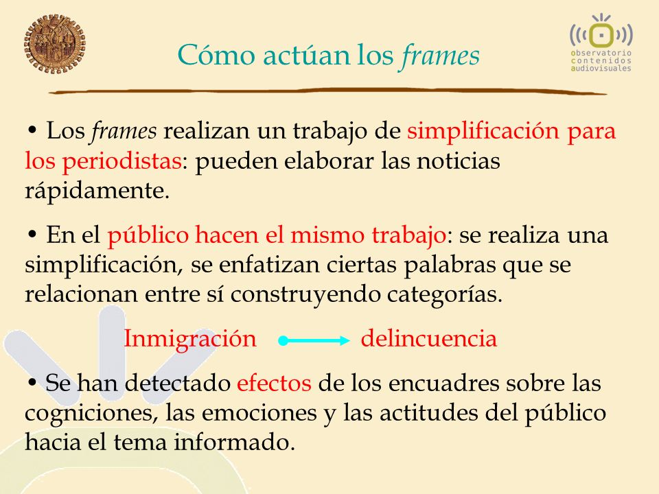 Cómo actúan los frames Los frames realizan un trabajo de simplificación para los periodistas: pueden elaborar las noticias rápidamente. En el público
