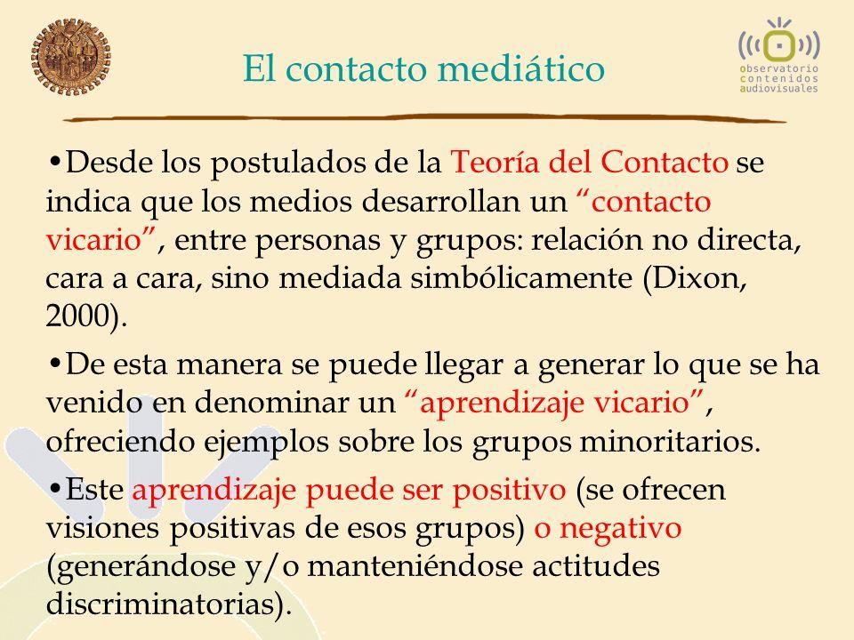 El contacto mediático Desde los postulados de la Teoría del Contacto se indica que los medios desarrollan un contacto vicario, entre personas y grupos