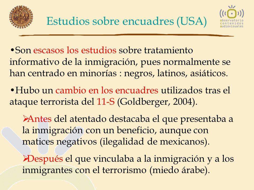 Estudios sobre encuadres (USA) Son escasos los estudios sobre tratamiento informativo de la inmigración, pues normalmente se han centrado en minorías