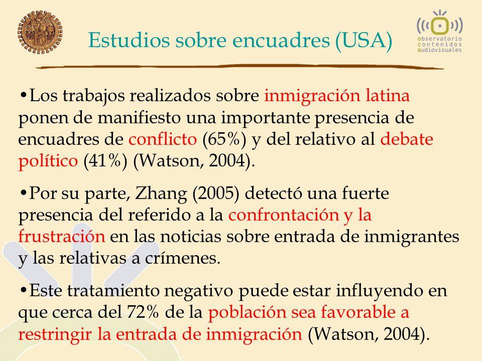 Estudios sobre encuadres (USA) Los trabajos realizados sobre inmigración latina ponen de manifiesto una importante presencia de encuadres de conflicto