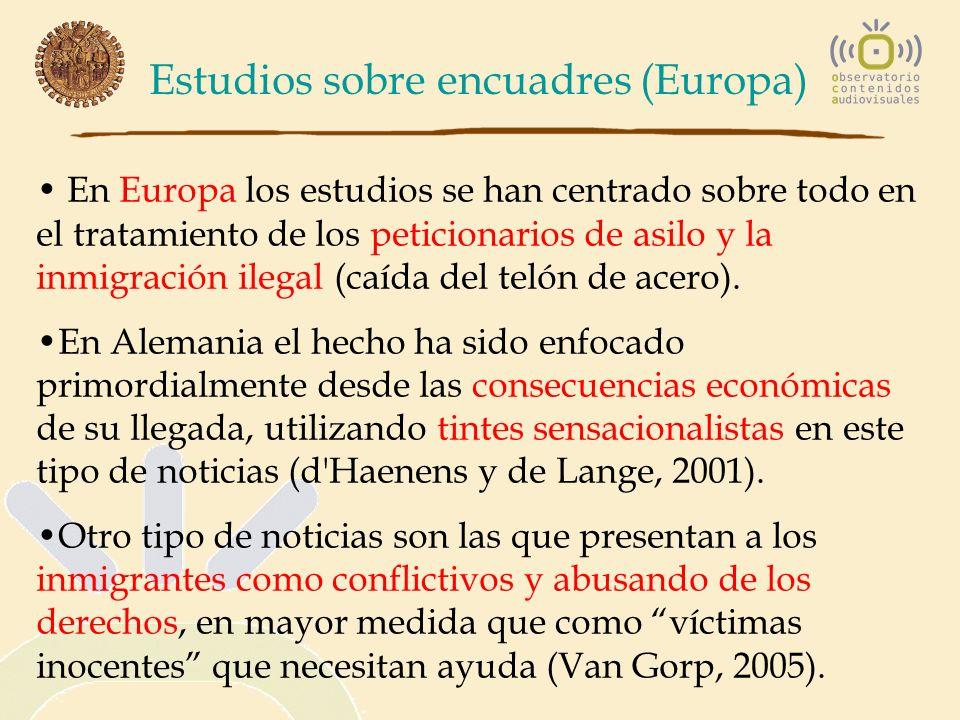 Estudios sobre encuadres (Europa) En Europa los estudios se han centrado sobre todo en el tratamiento de los peticionarios de asilo y la inmigración i