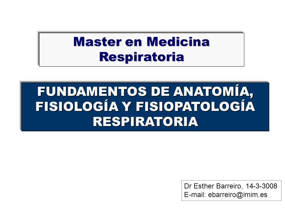FUNDAMENTOS DE ANATOMÍA, FISIOLOGÍA Y FISIOPATOLOGÍA RESPIRATORIA Master en Medicina Respiratoria Dr Esther Barreiro, 14-3-3008 E-mail: ebarreiro@imim