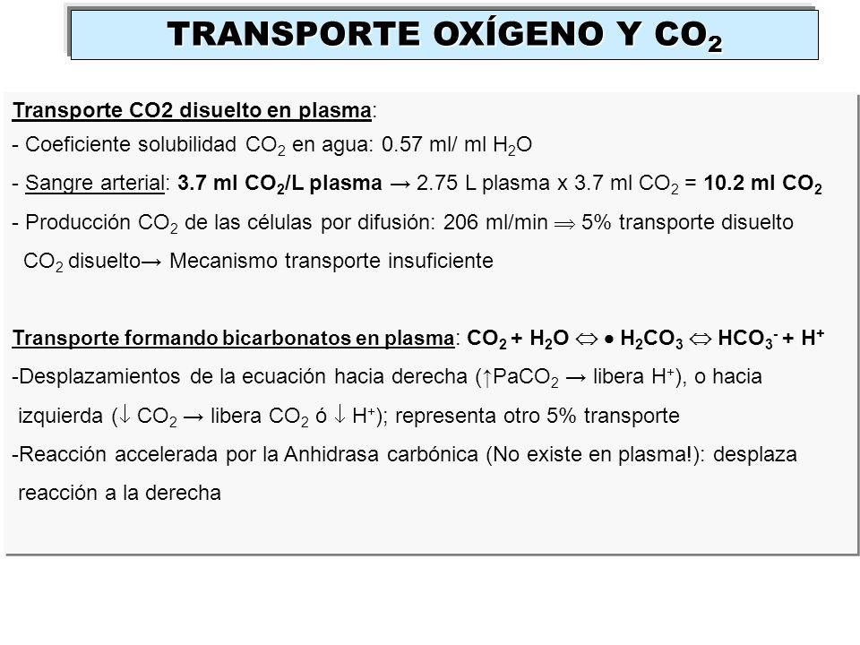 Transporte CO2 disuelto en plasma: - Coeficiente solubilidad CO 2 en agua: 0.57 ml/ ml H 2 O - Sangre arterial: 3.7 ml CO 2 /L plasma 2.75 L plasma x