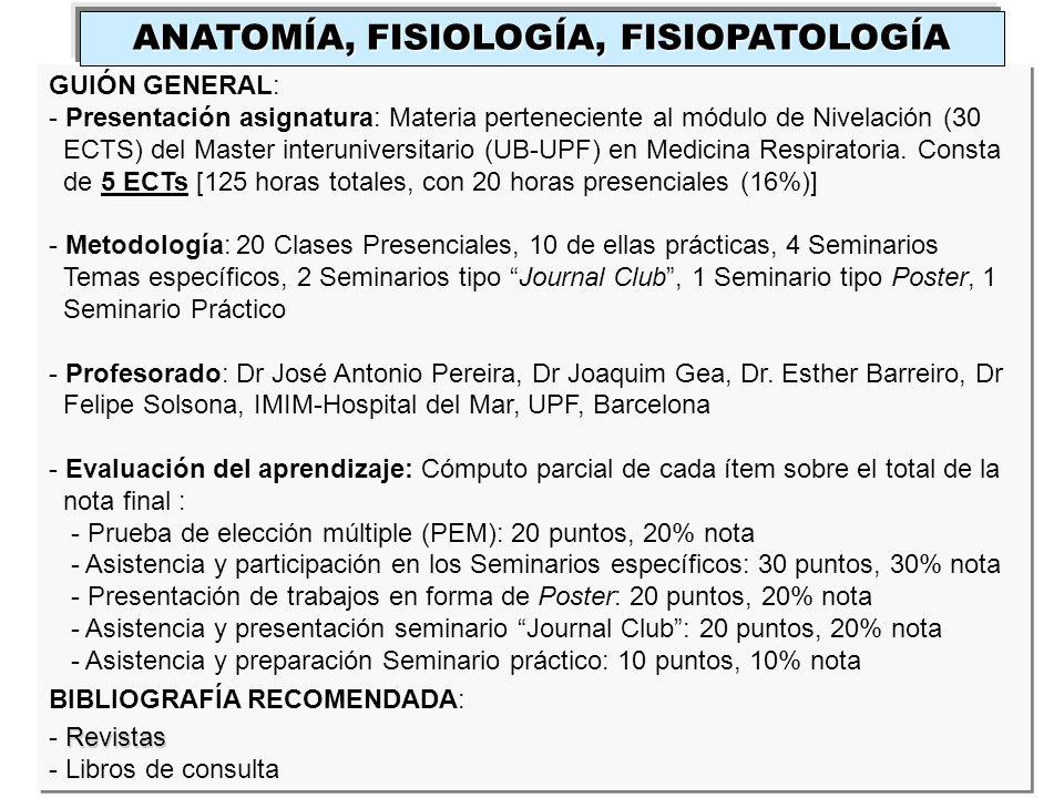 GUIÓN GENERAL: - Presentación asignatura: Materia perteneciente al módulo de Nivelación (30 ECTS) del Master interuniversitario (UB-UPF) en Medicina R