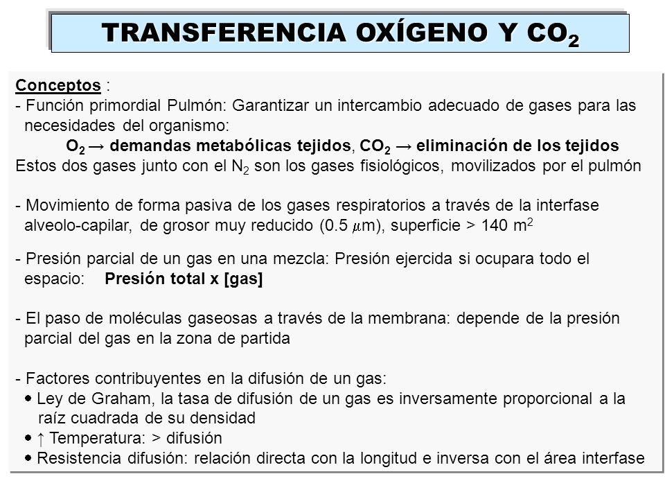 TRANSFERENCIA OXÍGENO Y CO 2 Conceptos : - Función primordial Pulmón: Garantizar un intercambio adecuado de gases para las necesidades del organismo:
