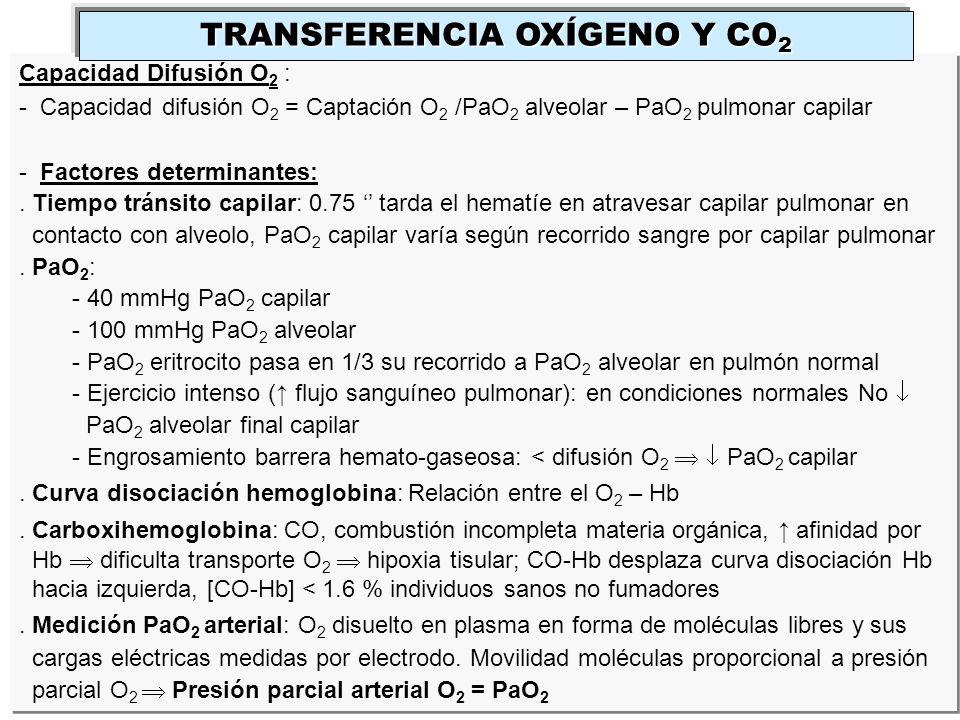 Capacidad Difusión O 2 : - Capacidad difusión O 2 = Captación O 2 /PaO 2 alveolar – PaO 2 pulmonar capilar - Factores determinantes:. Tiempo tránsito