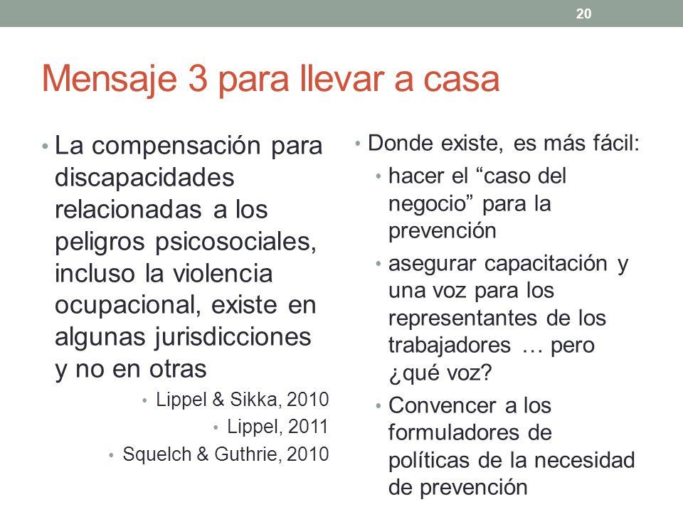 20 Mensaje 3 para llevar a casa La compensación para discapacidades relacionadas a los peligros psicosociales, incluso la violencia ocupacional, exist