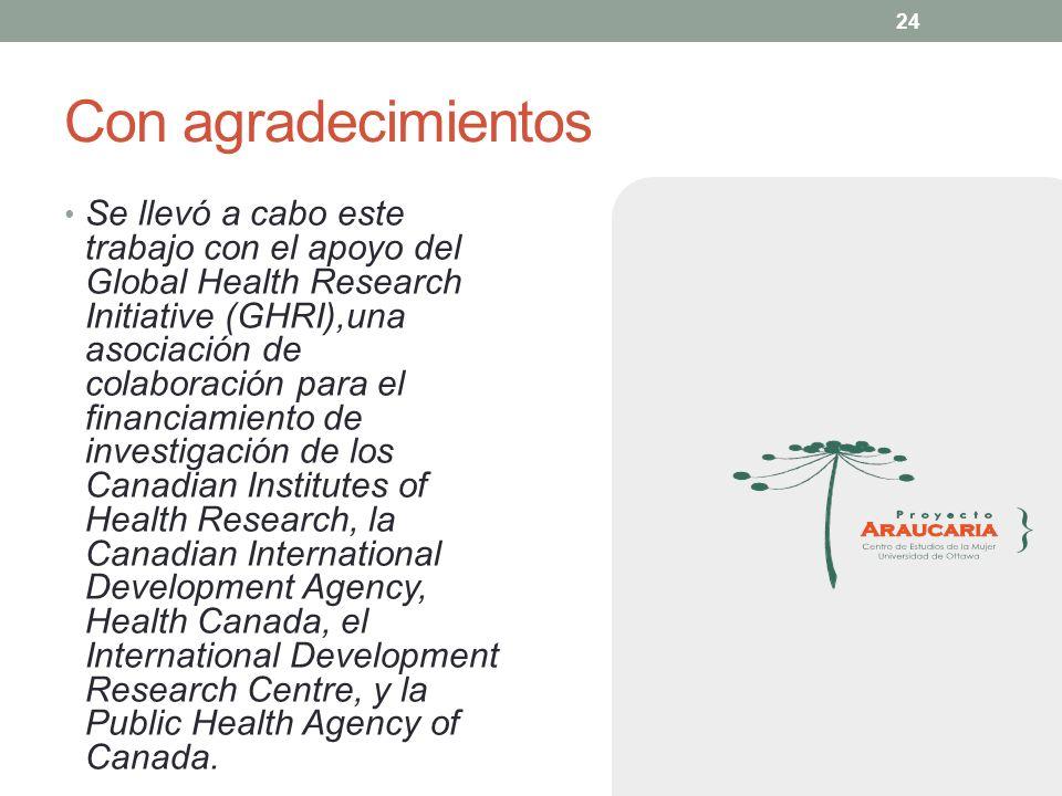 24 Con agradecimientos Se llevó a cabo este trabajo con el apoyo del Global Health Research Initiative (GHRI),una asociación de colaboración para el f