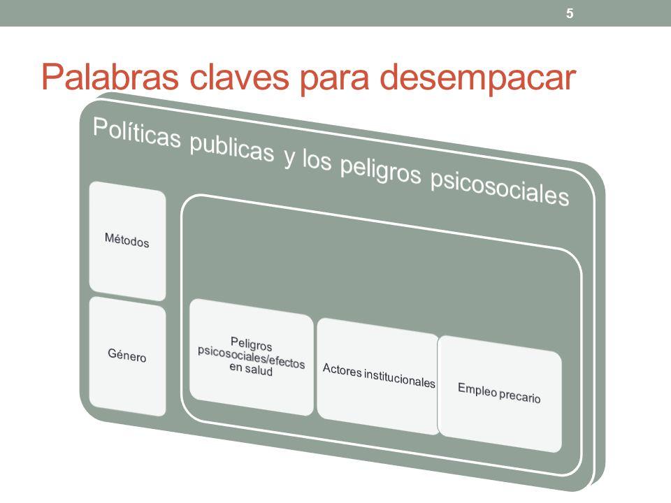 6 Enfoques metodológicos Análisis legal clásico Leyes que gobiernan la salud y el trabajo Prevención de peligros psicosociales Compensación para discapacidades debido a problemas de salud mental relacionados al trabajo Leyes comparativas: 15 paises (+ UE), 37 jurisdicciones + UE Sacando los efectos del sistema Sacando y contextualizando las mejores prácticas regulatorias Análisis de la eficacia regulatoria Brasil, Chile, Québec… Rol de contrapartes investigadoras y la retroalimentación comunitaria Enfoque transdisciplinario al problema Análisis de la relación entre la prevalencia de peligros en una determinada jurisdicción y los marcos regulatorios Québec (EQCOTESST) Chile (encuesta Araucaria)