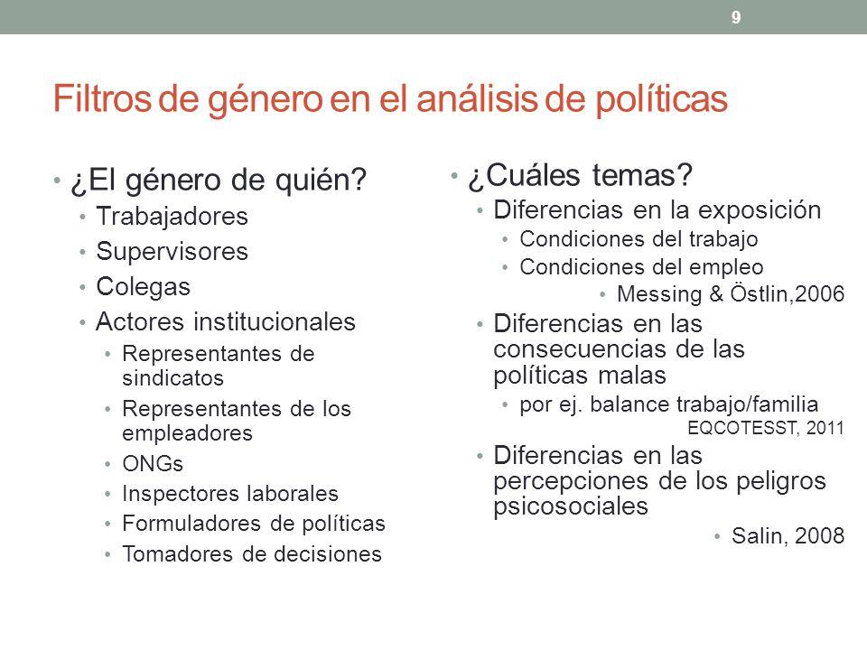 9 Filtros de género en el análisis de políticas ¿El género de quién? Trabajadores Supervisores Colegas Actores institucionales Representantes de sindi