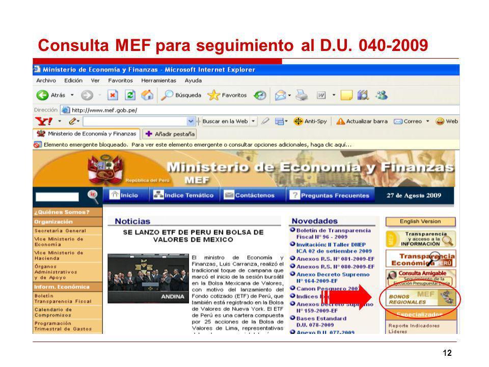 12 Consulta MEF para seguimiento al D.U. 040-2009