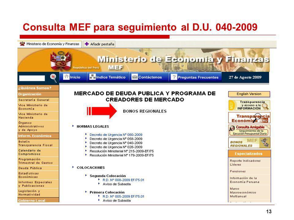13 Consulta MEF para seguimiento al D.U. 040-2009