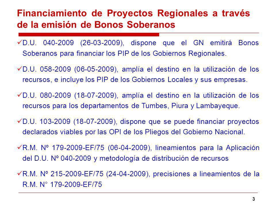 3 Financiamiento de Proyectos Regionales a través de la emisión de Bonos Soberanos D.U.