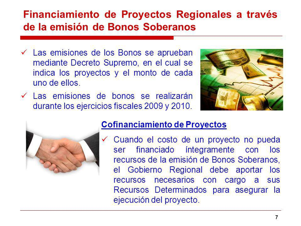 7 Las emisiones de los Bonos se aprueban mediante Decreto Supremo, en el cual se indica los proyectos y el monto de cada uno de ellos.