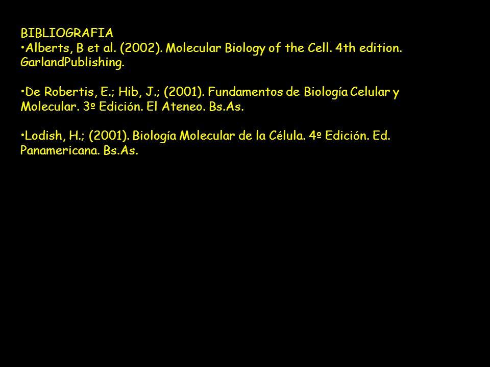 BIBLIOGRAFIA Alberts, B et al. (2002). Molecular Biology of the Cell. 4th edition. GarlandPublishing. De Robertis, E.; Hib, J.; (2001). Fundamentos de