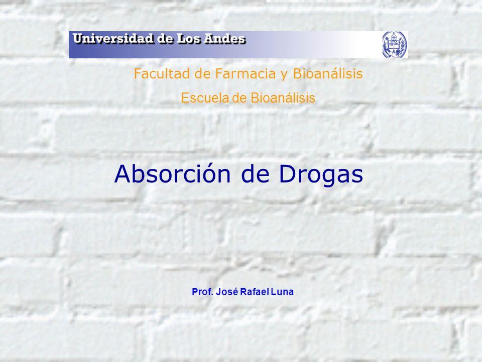 Absorción de Drogas Prof. José Rafael Luna Facultad de Farmacia y Bioanálisis Escuela de Bioanálisis