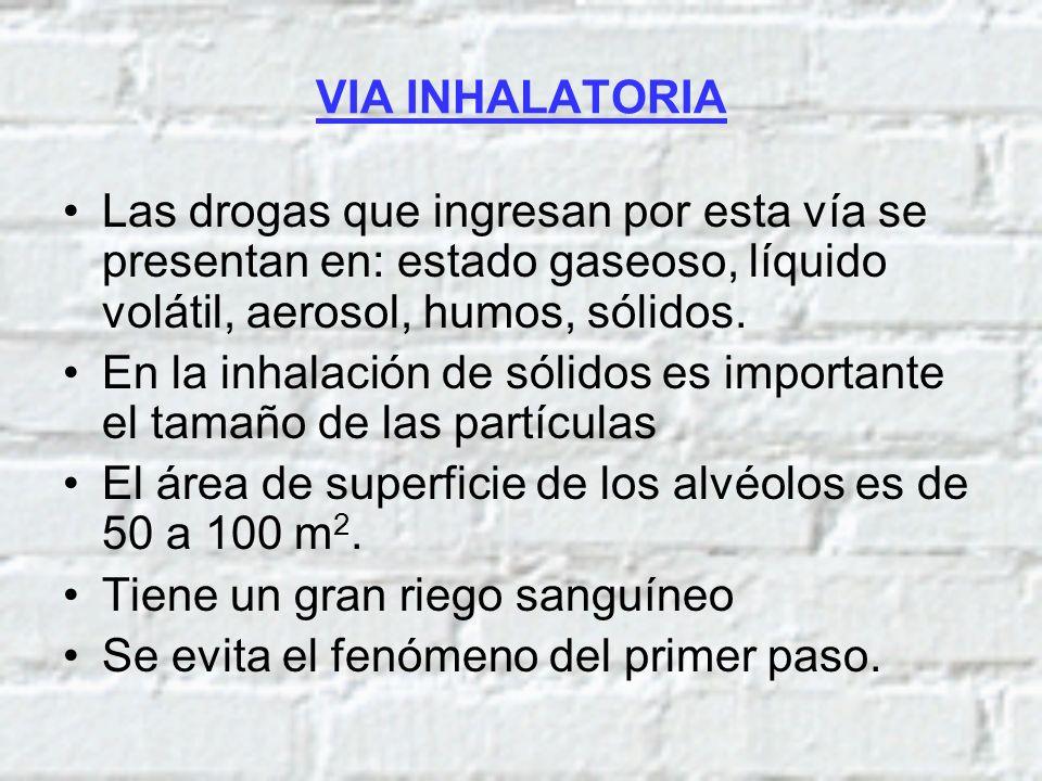 VIA INHALATORIA Las drogas que ingresan por esta vía se presentan en: estado gaseoso, líquido volátil, aerosol, humos, sólidos. En la inhalación de só
