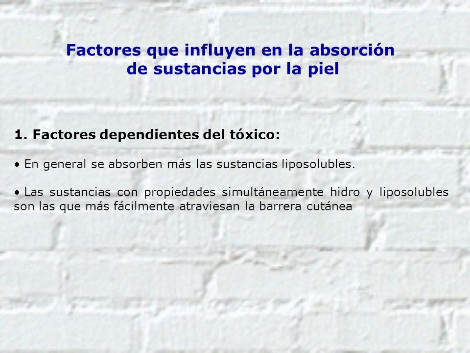 Factores que influyen en la absorción de sustancias por la piel 1. Factores dependientes del tóxico: En general se absorben más las sustancias liposol