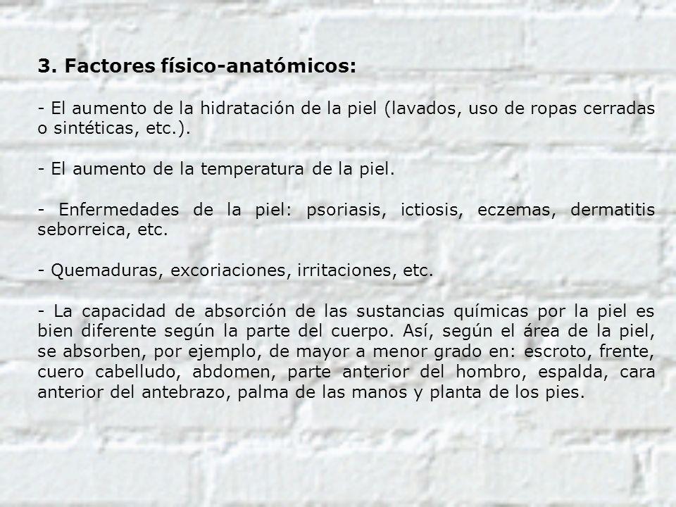 3. Factores físico-anatómicos: - El aumento de la hidratación de la piel (lavados, uso de ropas cerradas o sintéticas, etc.). - El aumento de la tempe