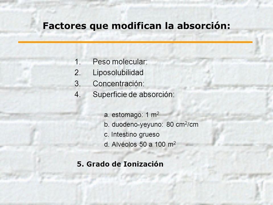 Factores que modifican la absorción: 1.Peso molecular: 2.Liposolubilidad 3.Concentración: 4.Superficie de absorción: a. estomago: 1 m 2 b. duodeno-yey
