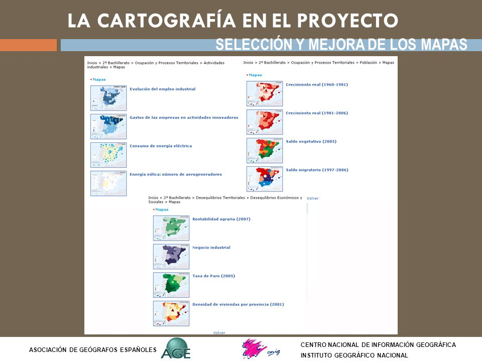 LA CARTOGRAFÍA EN EL PROYECTO CENTRO NACIONAL DE INFORMACIÓN GEOGRÁFICA INSTITUTO GEOGRÁFICO NACIONAL ASOCIACIÓN DE GEÓGRAFOS ESPAÑOLES SELECCIÓN Y ME