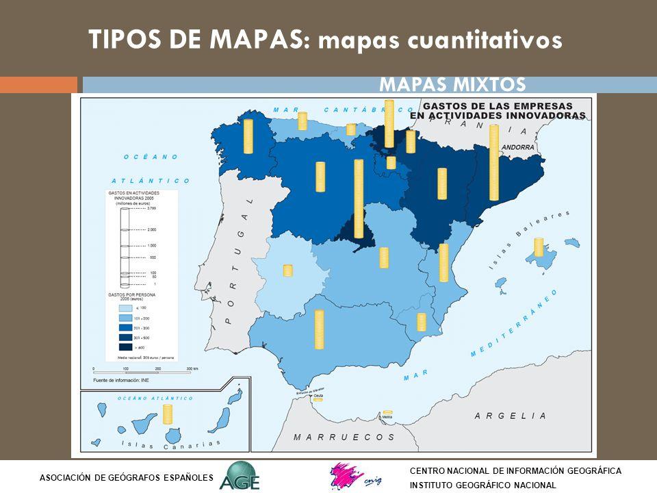 TIPOS DE MAPAS: mapas cuantitativos CENTRO NACIONAL DE INFORMACIÓN GEOGRÁFICA INSTITUTO GEOGRÁFICO NACIONAL ASOCIACIÓN DE GEÓGRAFOS ESPAÑOLES MAPAS MI