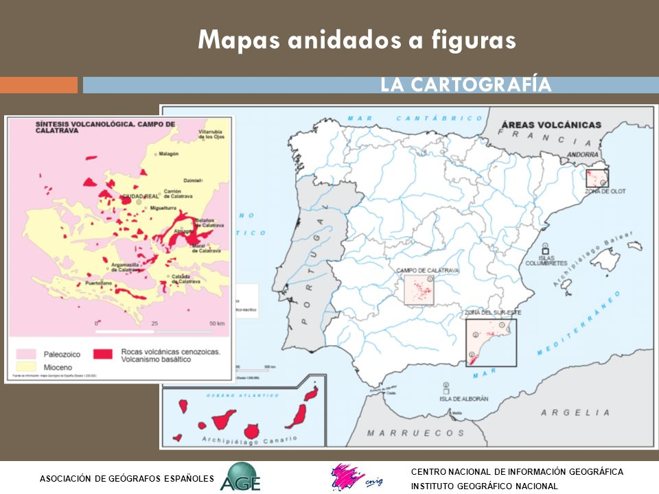 Mapas anidados a figuras CENTRO NACIONAL DE INFORMACIÓN GEOGRÁFICA INSTITUTO GEOGRÁFICO NACIONAL ASOCIACIÓN DE GEÓGRAFOS ESPAÑOLES LA CARTOGRAFÍA