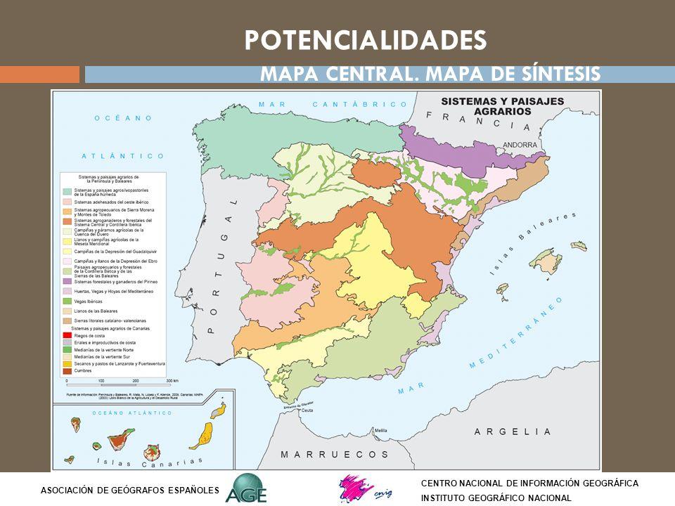 POTENCIALIDADES CENTRO NACIONAL DE INFORMACIÓN GEOGRÁFICA INSTITUTO GEOGRÁFICO NACIONAL ASOCIACIÓN DE GEÓGRAFOS ESPAÑOLES MAPA CENTRAL. MAPA DE SÍNTES