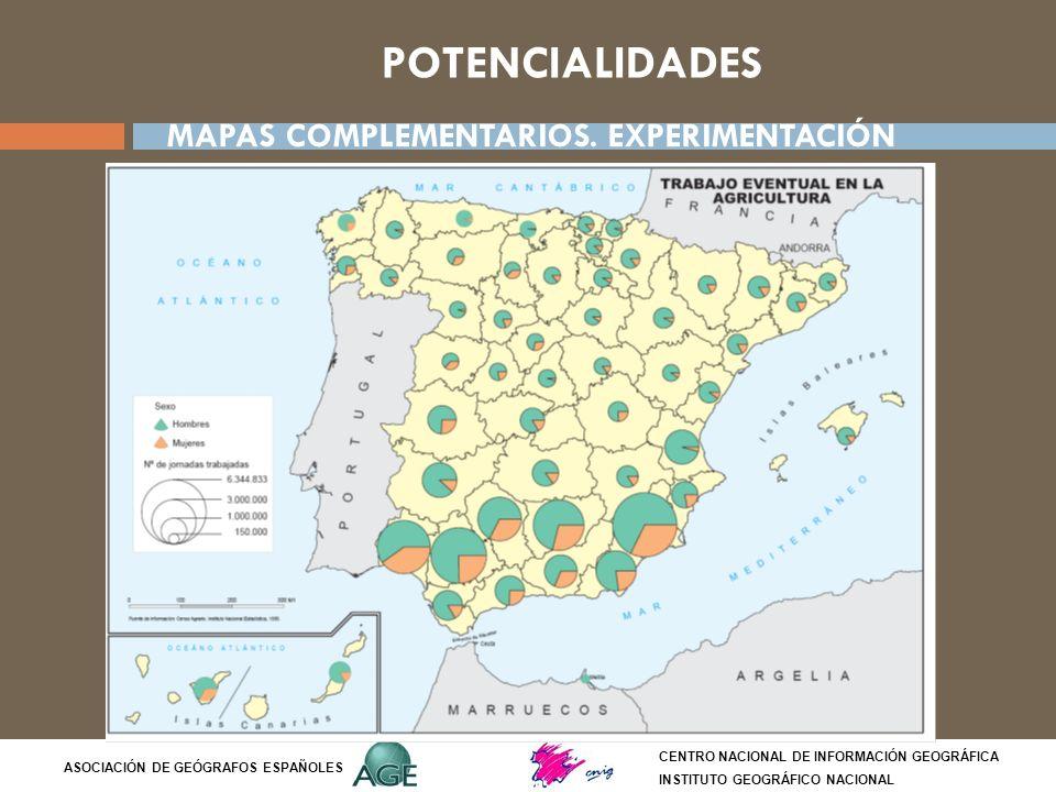 POTENCIALIDADES CENTRO NACIONAL DE INFORMACIÓN GEOGRÁFICA INSTITUTO GEOGRÁFICO NACIONAL ASOCIACIÓN DE GEÓGRAFOS ESPAÑOLES MAPAS COMPLEMENTARIOS. EXPER