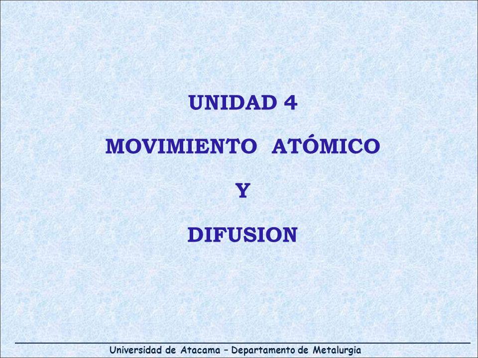 Universidad de Atacama – Departamento de Metalurgia Movimiento de los átomos en los materiales: Difusión Difusión: mecanismo por el cual la materia se transporta a través de la materia Difusión Gases Líquidos Sólidos