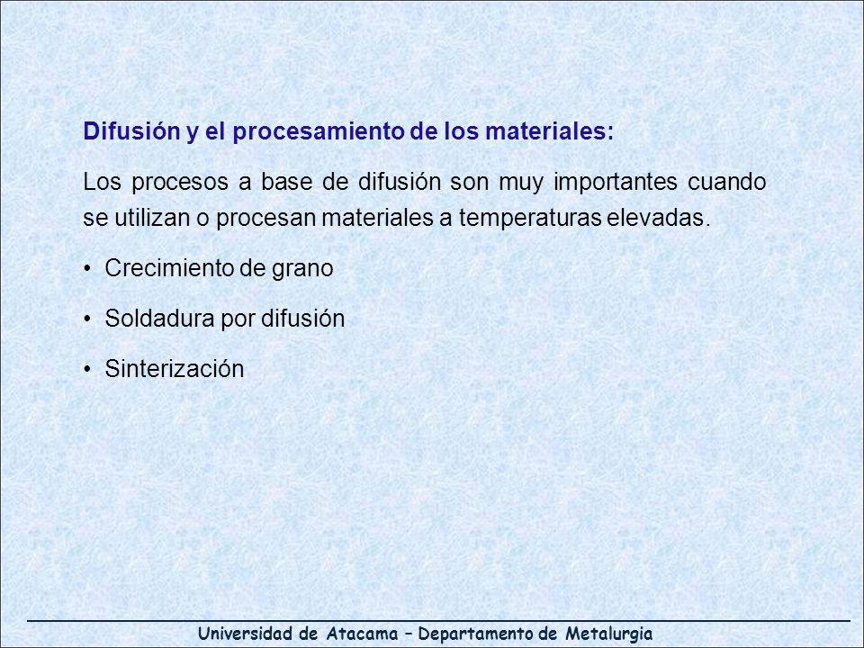 Universidad de Atacama – Departamento de Metalurgia Difusión y el procesamiento de los materiales: Los procesos a base de difusión son muy importantes