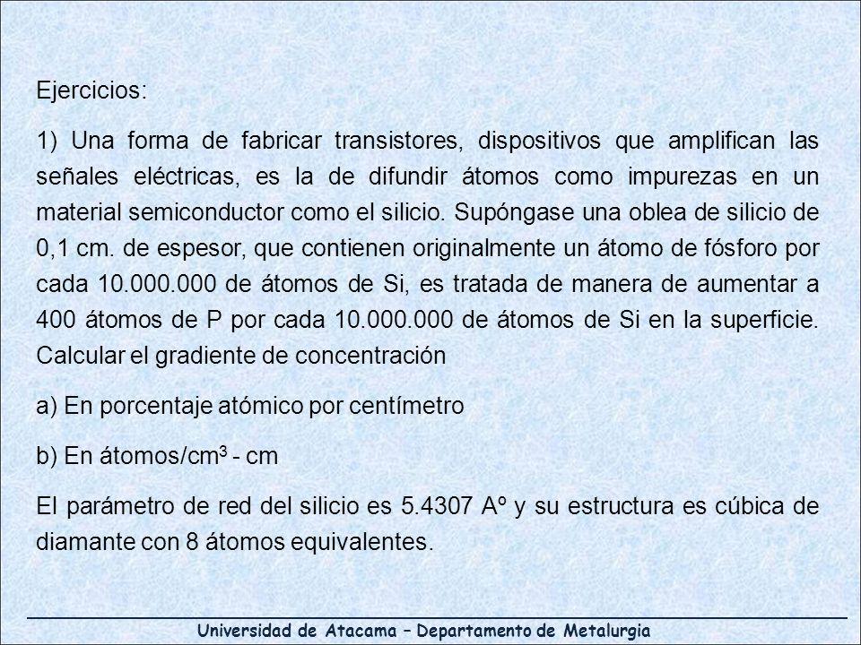 Universidad de Atacama – Departamento de Metalurgia Ejercicios: 1) Una forma de fabricar transistores, dispositivos que amplifican las señales eléctri