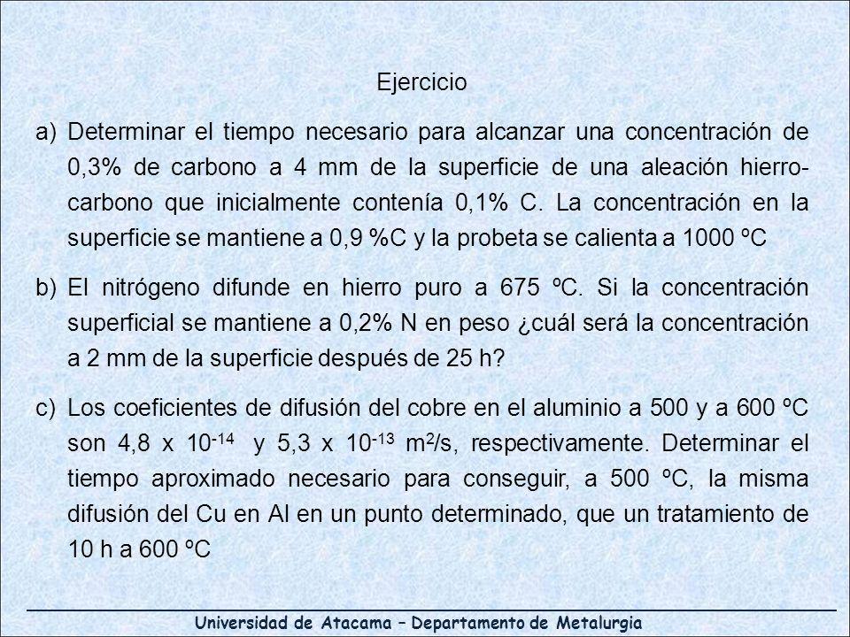 Universidad de Atacama – Departamento de Metalurgia Ejercicio a)Determinar el tiempo necesario para alcanzar una concentración de 0,3% de carbono a 4