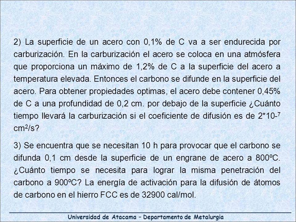 Universidad de Atacama – Departamento de Metalurgia 2) La superficie de un acero con 0,1% de C va a ser endurecida por carburización. En la carburizac