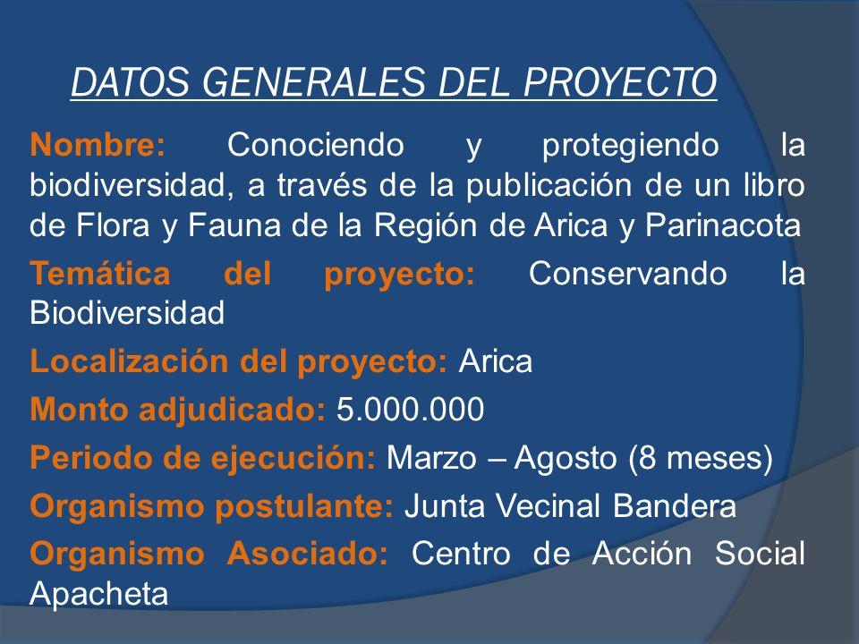 DESCRIPCIÓN DEL PROYECTO El proyecto tiene por finalidad la recopilación de la Flora y Fauna de los 3 pisos ecológicos de la región de Arica y Parinacota.